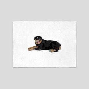 Cute Rottweiler dog 5'x7'Area Rug