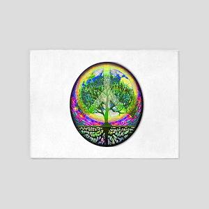 Rainbow Peace on Earth and Tree of 5'x7'Area Rug