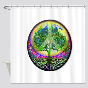 Rainbow Peace on Earth and Tree of Shower Curtain