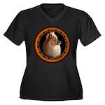 Pomeranian Dog Women's Plus Size V-Neck Dark T-Shi