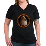 Pomeranian Dog Women's V-Neck Dark T-Shirt