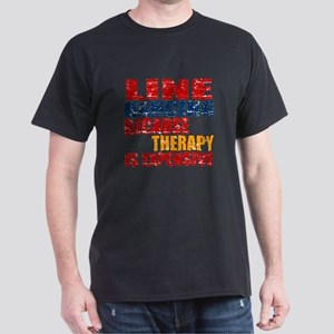 Line dancing Because Therapy Is Expe Dark T-Shirt