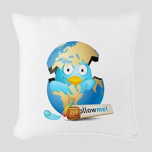 Twitter world Woven Throw Pillow