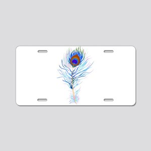 Peacock feather watercolor Aluminum License Plate