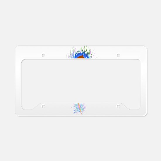 Peacock feather watercolor License Plate Holder