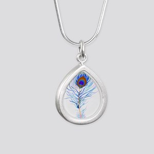 Peacock feather watercolor Necklaces