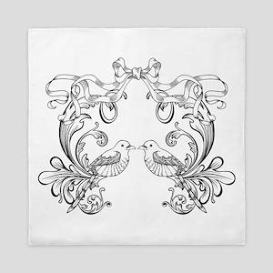 European pattern line art Queen Duvet