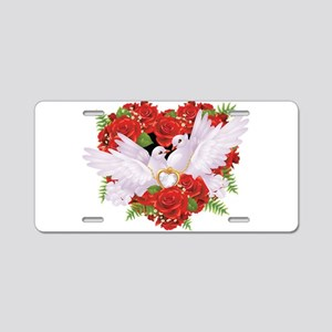 Roses pigeons illustration Aluminum License Plate