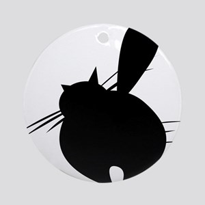 Black cat posing backside Round Ornament