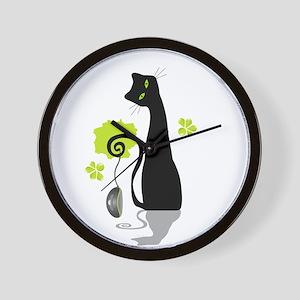 Funny black cat design Wall Clock
