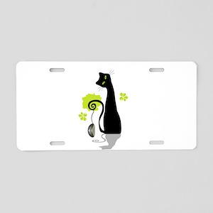 Funny black cat design Aluminum License Plate