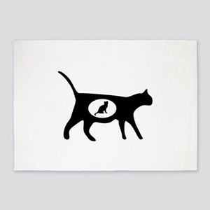 Elegant cat icon art 5'x7'Area Rug