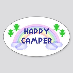 """Happy Camper"" Oval Sticker"