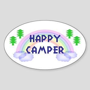 """Happy Camper"" Oval Sticker"