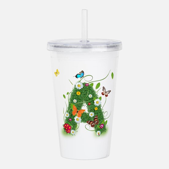 Monogramed Letter A Acrylic Double-Wall Tumbler