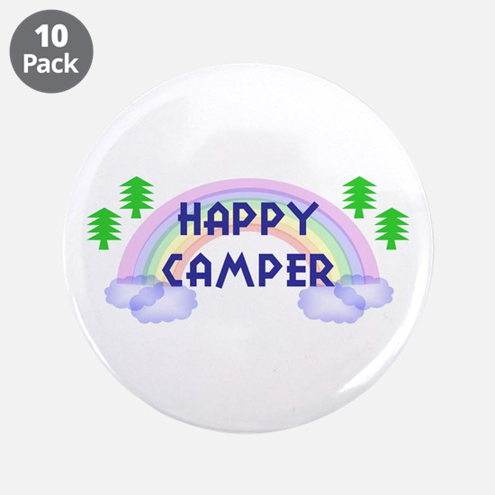 """""""Happy Camper"""" 3.5"""" Button (10 pack)"""