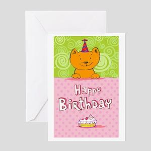 Happy birthday cat design card Greeting Cards