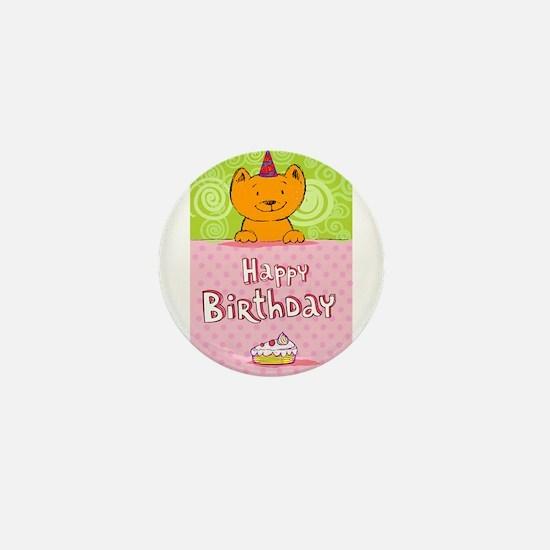 Happy birthday cat design ca Mini Button (10 pack)