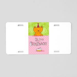 Happy birthday cat design c Aluminum License Plate