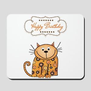 Happy birthday cartoon cat cards Mousepad