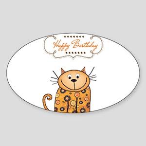Happy birthday cartoon cat cards Sticker