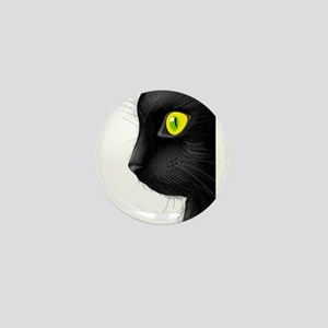 Black cat face with bright eye Mini Button