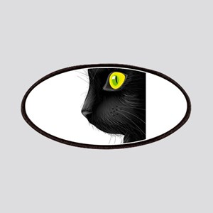 Black cat face with bright eye Patch