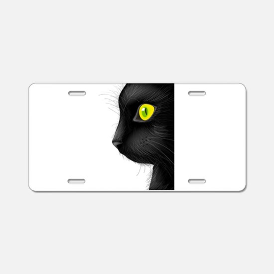 Black cat face with bright Aluminum License Plate