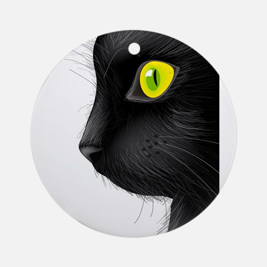 Black cat face with bright eye Round Ornament