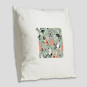 Funny cartoon cat design patte Burlap Throw Pillow