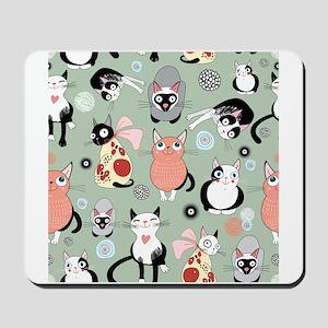Funny cartoon cat design pattern Mousepad