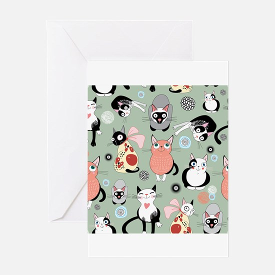 Funny cartoon cat design pattern Greeting Cards
