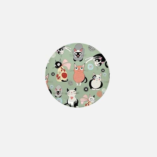 Funny cartoon cat design pat Mini Button (10 pack)