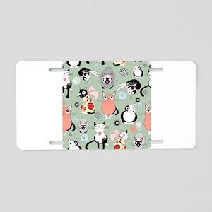 Funny cartoon cat design pa Aluminum License Plate