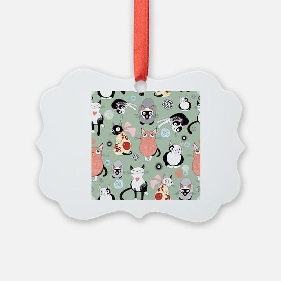 Funny cartoon cat design pattern Ornament