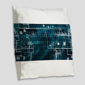 Digital Surveillan Burlap Throw Pillow