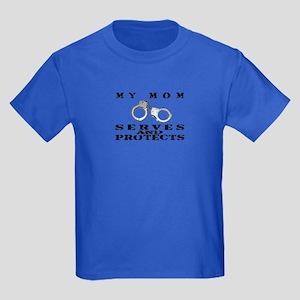 Serves & Protects Cuffs - Mom Kids Dark T-Shirt