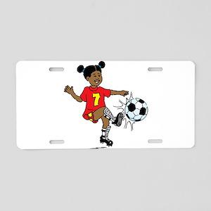 Girl playing soccer Aluminum License Plate