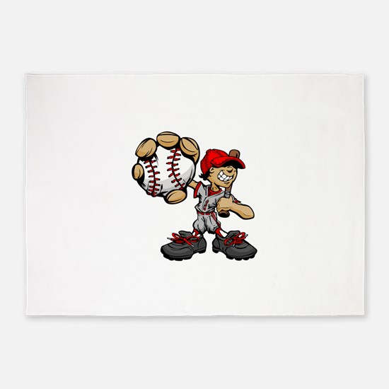 Funny cartoon baseball player 5'x7'Area Rug
