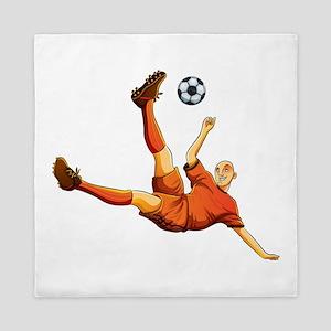 Orange dress soccer playing flaying ki Queen Duvet