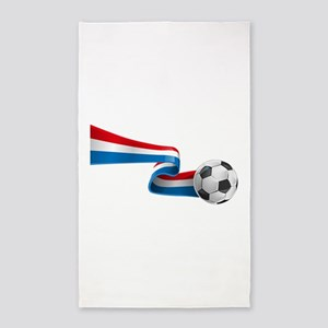 Abstract 3d France flag football ribbon t Area Rug