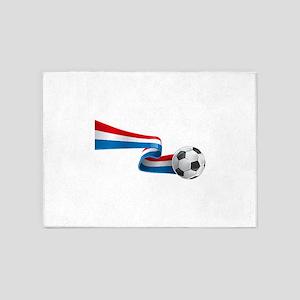 Abstract 3d France flag football ri 5'x7'Area Rug