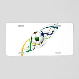 Soccer ball wave art Aluminum License Plate