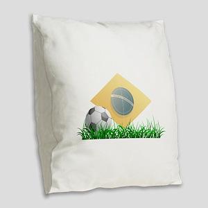 Soccer ball on grass field Burlap Throw Pillow