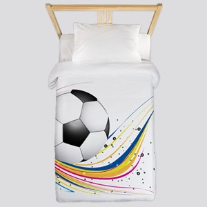 Abstract football green colorful wave Twin Duvet