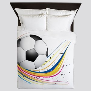 Abstract football green colorful wave Queen Duvet