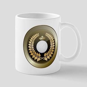 Golden crown golf club shield Mugs