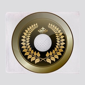 Golden crown golf club shield Throw Blanket