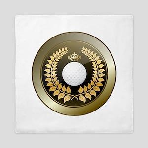 Golden crown golf club shield Queen Duvet