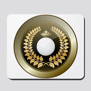 Golden crown golf club shield Mousepad